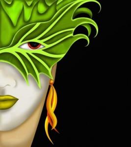 donna con maschera verde