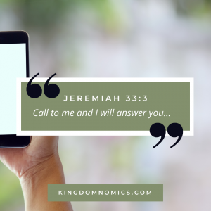 God's Cell Phone # Jeremiah 33:3