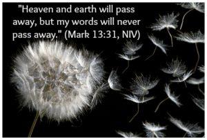 """Heaven and earth will pass away, but my words will never pass away."" (Mark 13:31, NIV)   KingdomNomics.com"